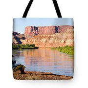 A Woman Enjoys Morning Coffee At A Camp Tote Bag