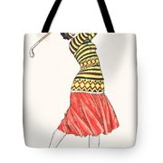 A Woman In Full Swing Playing Golf Tote Bag