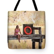 A Woman Is Sitting By A Lake, Mount Tote Bag