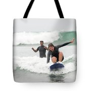 A Woman Learns To Surf Tote Bag