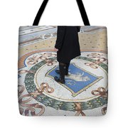 A Woman Rubs Her Heel For Good Luck On The Crest Of The Bull In Galleria Vittorio Emanuele II  Tote Bag