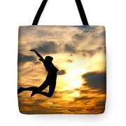 A Woman Showing Her Happiness Tote Bag by Michal Bednarek