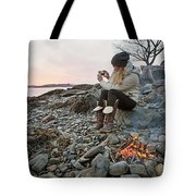 A Woman Takes A Cell Phone Picture Tote Bag