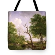 A Wooded River Landscape With Sportsmen In A Rowing Boat Tote Bag