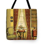 A Yellow Library With A Vase Of Flowers Tote Bag