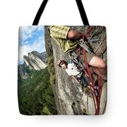 A Young Boy And Climbers In Yosemite Tote Bag