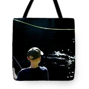 A Young Boy Fly Fishes At Gunpowder Tote Bag