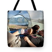 A Young Couple Camping Talk Tote Bag