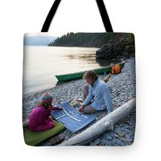 A Young Girl And Her Dad Enjoying Camp Tote Bag