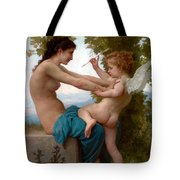 A Young Girl Defending Herself Against Eros  Tote Bag