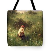 A Young Girl In A Field Tote Bag