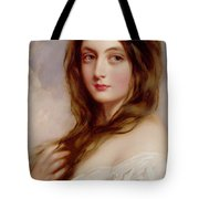 A Young Girl In A White Dress Tote Bag by Richard Buckner