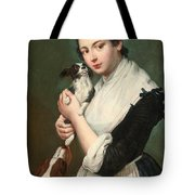 A Young Lady With Two Dogs Tote Bag