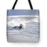 A Young Man Falls While Skiing Tote Bag