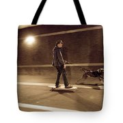 A Young Man On A Skateboard Is Pulled Tote Bag