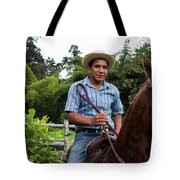 A Young Man Sits On A Horse And Smiles Tote Bag