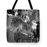 A Young Warrior - B W Tote Bag