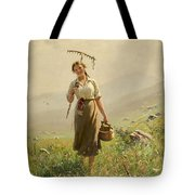 A Young Woman In The Meadow Tote Bag