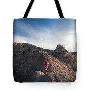 A Young Woman On A Narrow Ridge Tote Bag
