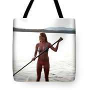 A Young Woman Smiles While Stand Tote Bag