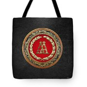 Aa Initials - Gold Antique Monogram On Black Leather Tote Bag