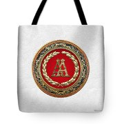 Aa Initials - Gold Antique Monogram On White Leather Tote Bag