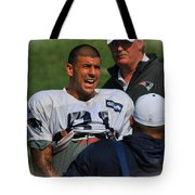 Aaron Hernandez With Patriots Coaches Tote Bag