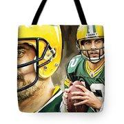Aaron Rodgers Green Bay Packers Quarterback Artwork Tote Bag