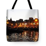 Aarti At Dashashwamedh Ghat 2 Tote Bag