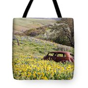 Abandoned Ford Buried In Wildflowers Tote Bag