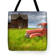 Abandoned Homestead House And Red Tote Bag