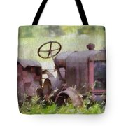 Abandoned Tractor On The Farm Tote Bag
