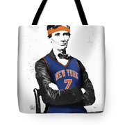 Abe Lincoln In A Carmelo Anthony New York Knicks Jersey Tote Bag