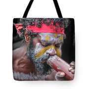Aboriginal Playing Didgeridoo Tote Bag