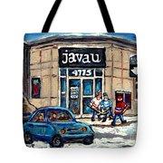 Montreal Art Exhibit At Java U Carole Spandau Montreal Street Scenes Paintings Hockey Art  Tote Bag