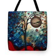 Abstract Art Contemporary Cat Bird Circle Of Life Collection Cat Perch By Madart Tote Bag