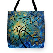 Abstract Art Gold Textured Original Tree Painting Peace And Desire By Madart Tote Bag