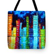 Abstract Art Landscape City Cityscape Textured Painting City Nights II By Madart Tote Bag by Megan Duncanson