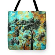 Abstract Art Landscape Metallic Gold Textured Painting Spring Blooms II By Madart Tote Bag
