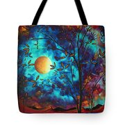 Abstract Art Landscape Tree Blossoms Sea Moon Painting Visionary Delight By Madart Tote Bag