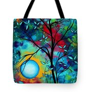 Abstract Art Landscape Tree Blossoms Sea Painting Under The Light Of The Moon I  By Madart Tote Bag by Megan Duncanson