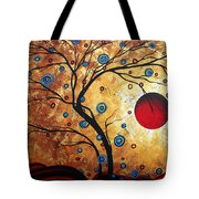 Abstract Art Landscape Tree Metallic Gold Texture Painting Free As The Wind By Madart Tote Bag
