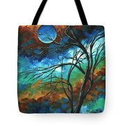 Abstract Art Original Colorful Painting Mystery Of The Moon By Madart Tote Bag