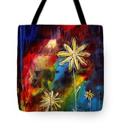 Abstract Art Original Daisy Flower Painting Visual Feast By Madart Tote Bag