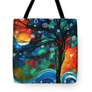 Abstract Art Original Landscape Colorful Painting First Snow Fall By Madart Tote Bag