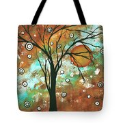 Abstract Art Original Landscape Painting Bold Circle Of Life Design Autumns Eve By Madart Tote Bag