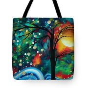 Abstract Art Original Landscape Painting Bold Circle Of Life Design Dance The Night Away By Madart Tote Bag