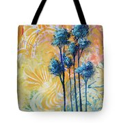 Abstract Art Original Landscape Painting Contemporary Design Blue Trees II By Madart Tote Bag