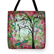 Abstract Art Original Whimsical Magical Bird Painting Through The Looking Glass  Tote Bag
