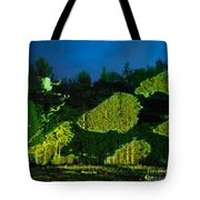 Abstract Art Projection Over Night Nature Scenery Tote Bag